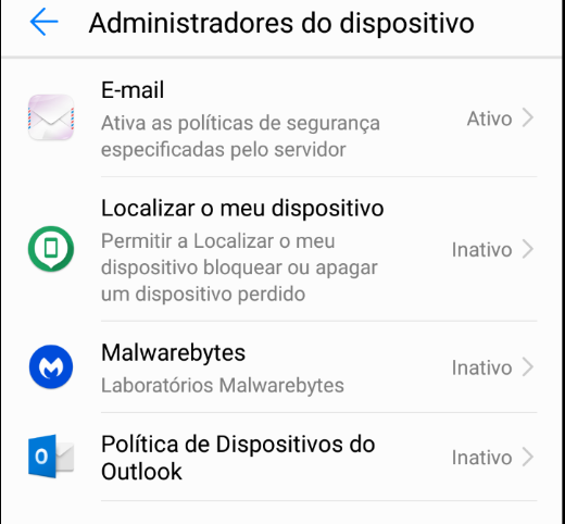 Android Administradores do dispositivo