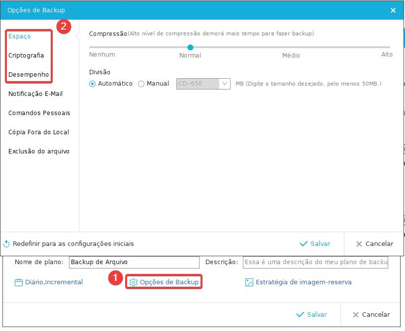 EaseUS Backup de Arquivo opções de Backup