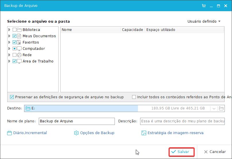 EaseUS Backup de Arquivo realizar backup