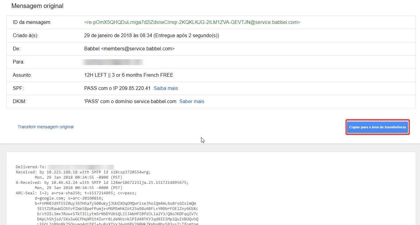 Gmail Mostrar orginal mensagem original
