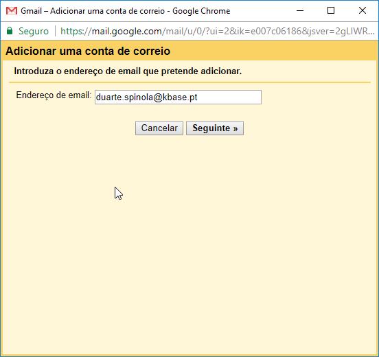 Gmail Receber adicionar conta correio