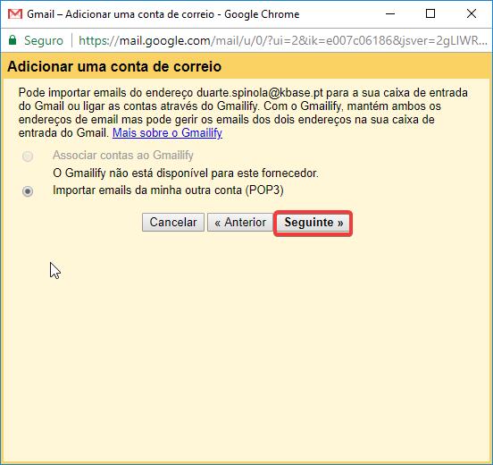 Gmail Receber importar emails da minha conta POP3