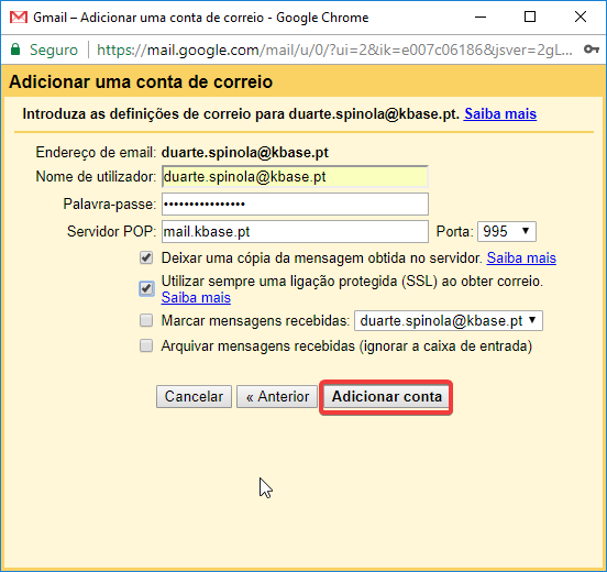 Gmail Receber servidor pop