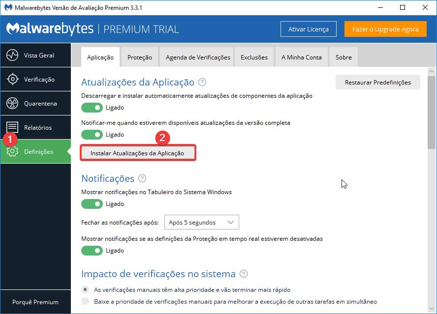Malwarebytes Definições Instalar atualizações