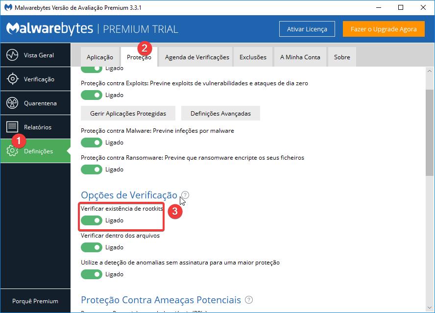 Malwarebytes Definições ativar opção de proteção rootkits