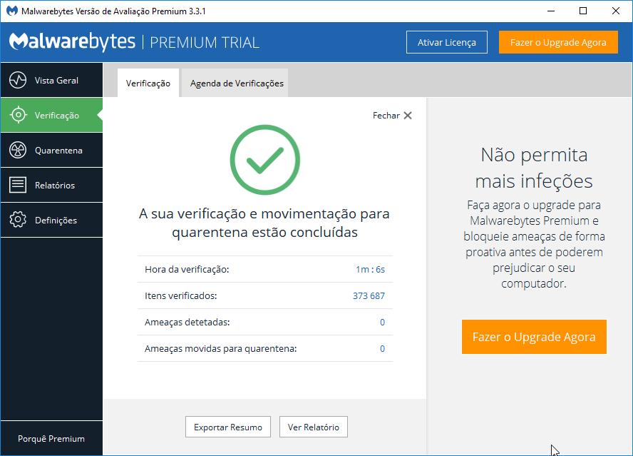 Malwarebytes verificação concluida sem ameaças
