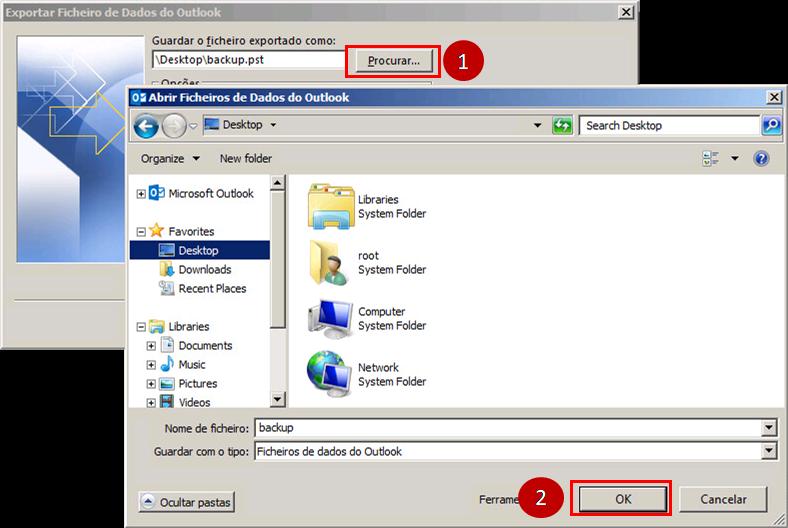 Outlook 2013 Procurar Localização