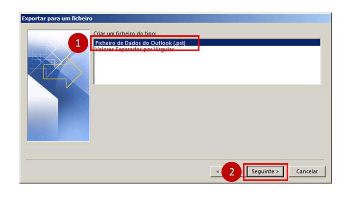 Outlook 2013 Exportar para um ficheiro pst