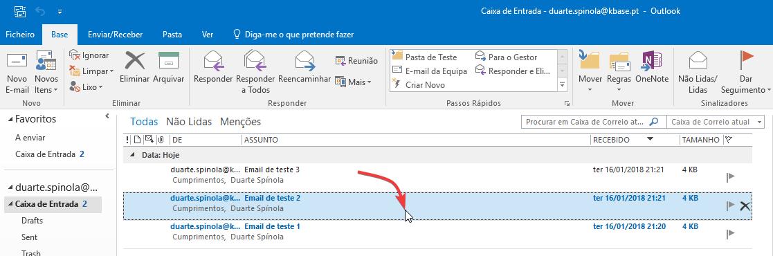 Outlook Painel de leitura mudar selecção