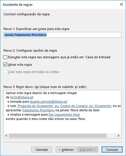 Outlook Regra especificar nome