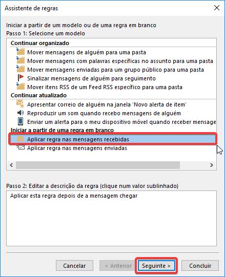 Outlook regra mensagens recebidas