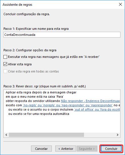 Outlook regra obter resposta do servidor mensagem concluir