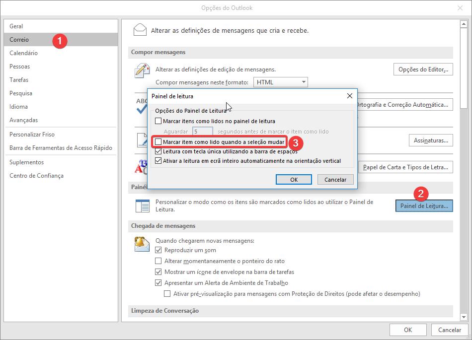 """Outlook 2016/2013 Remover a selecção """"Marcar item como lido quando a seleção mudar"""""""