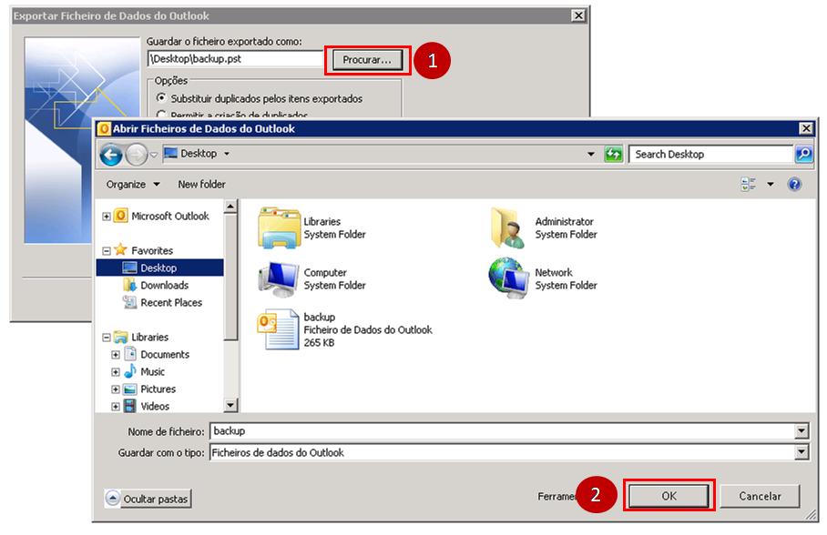 Outlook 2007 Procurar e seleccione a pasta