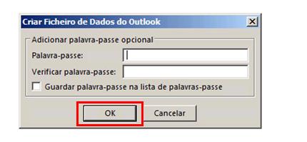 Outlook 2010 criar palavra-passe para o arquivo pst