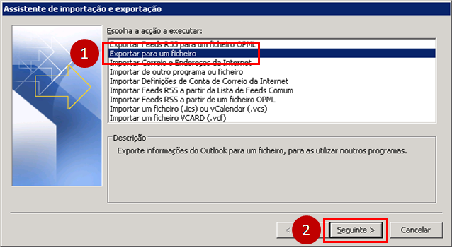 Outlook 2010 exportar para um ficheiro