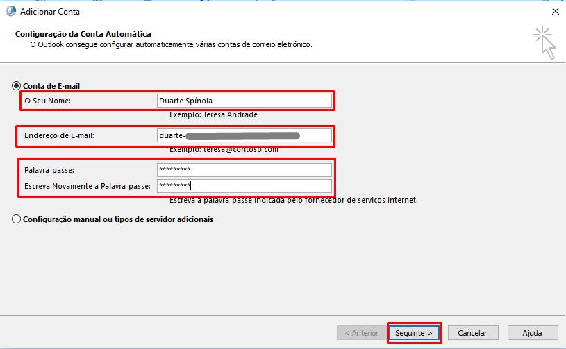 Outlook 2016 Endereço de utilizador e password