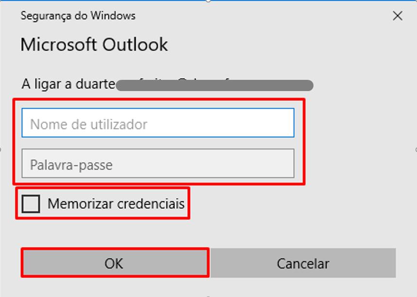 Outlook 2016 Inserir o Utilizador e Password