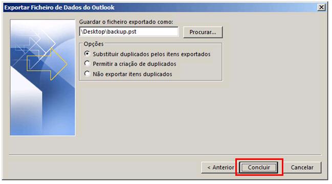 Outlook 2016 Iniciar a criação do arquivo