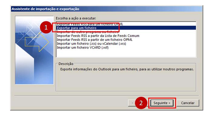 Outlook 2016 Selecionar ficheiro pst