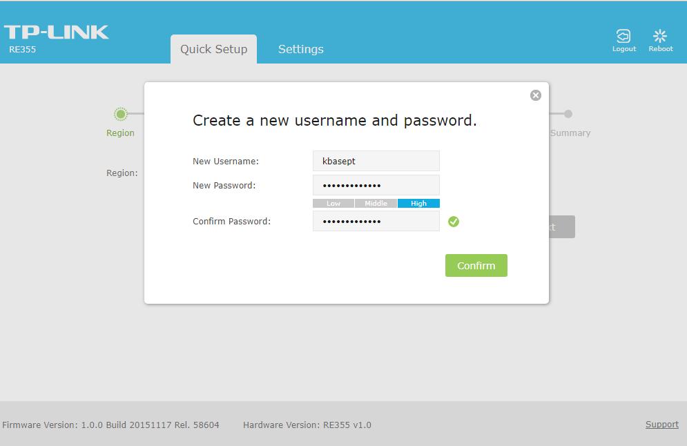 TP-LINK RE355 definir utilizador e password