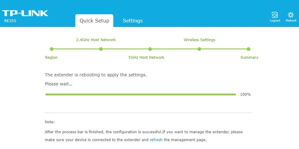 TP-LINK RE355 Quick Setup Apply the Settings