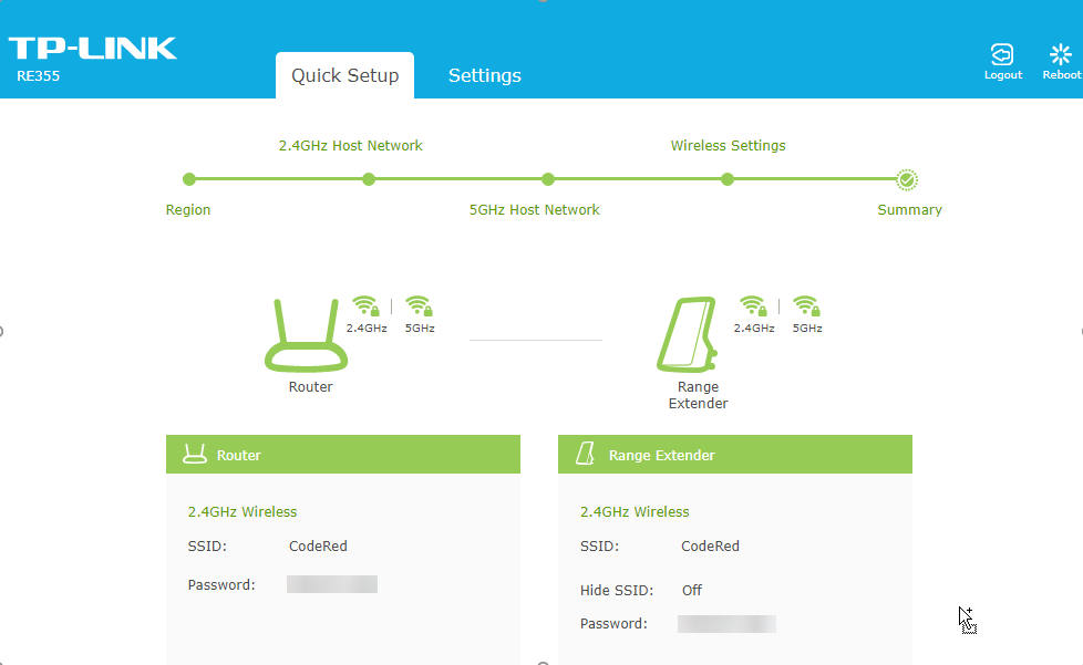 TP-LINK RE355 Quick Setup Summary