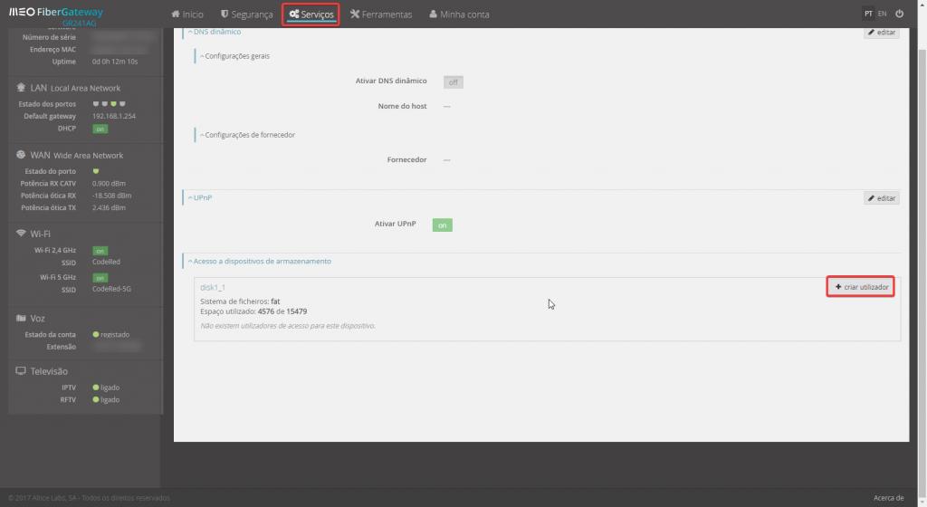 Fibergateway meo GR241AG armazenamento criar utilizador