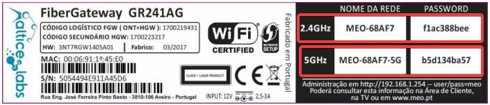 FiberGateway GR241AG etiqueta com os dados de nome da rede e password