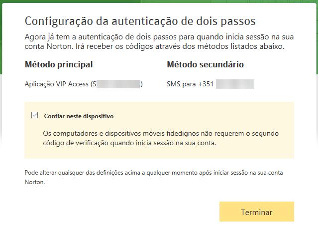 Norton Identity safe configuração dois passos