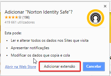 Norton Identity safe plugin chrome extensão