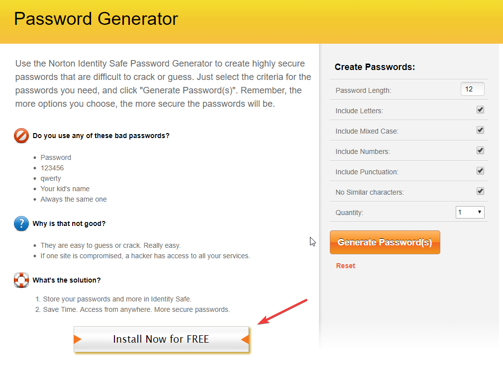 Norton Identity safe plugin password gerator