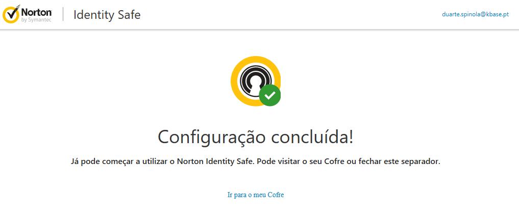 Norton identify safe criar cofre palavra passe concluido