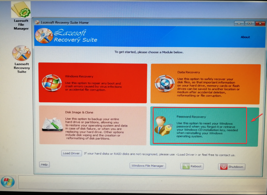 lazesoft boot password recovery