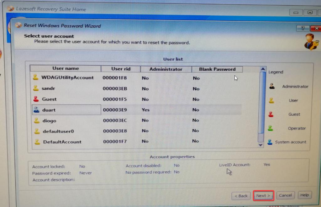 lazesoft boot password utilizador