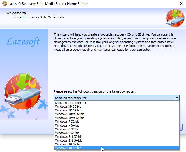 lazesoft burnUSB selecionar versão do windows