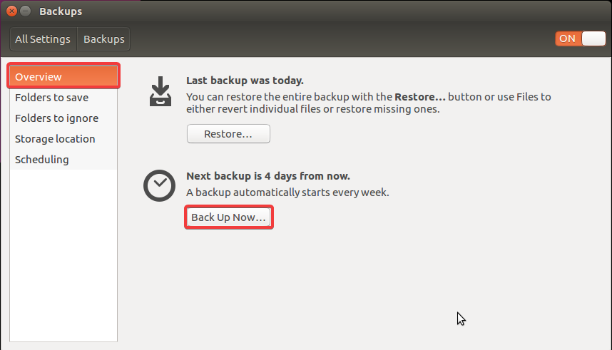 backup ubuntu back up now