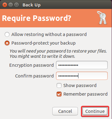 backup ubuntu require password
