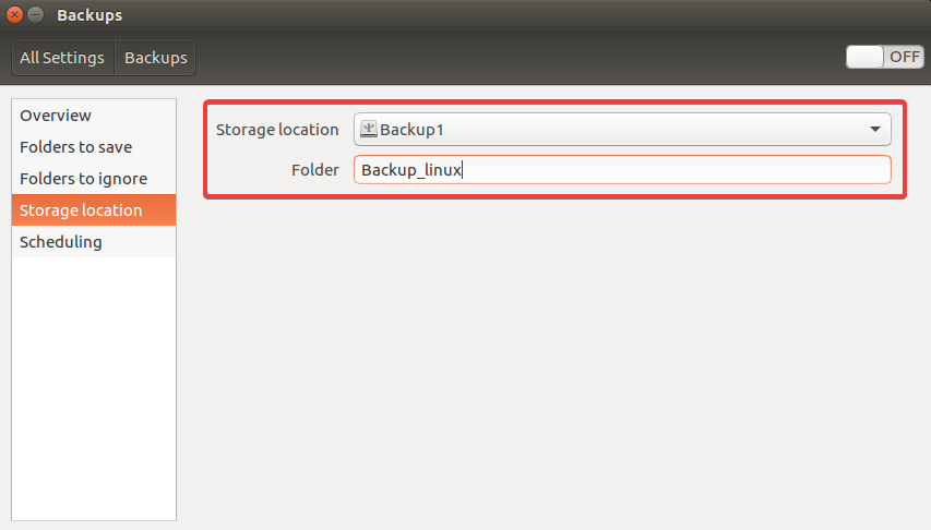 backup ubuntu storage location