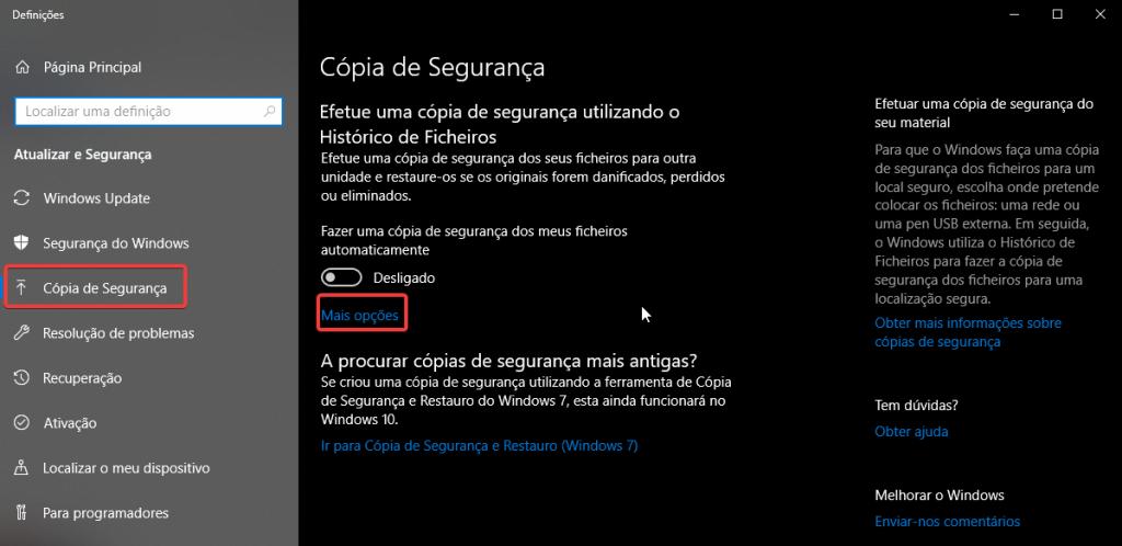 backup windows10 copia de segurança
