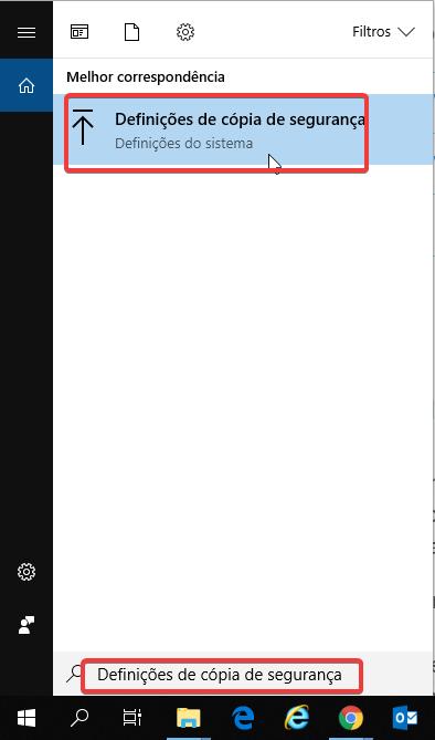 backup windows10 definições de copia se segurança