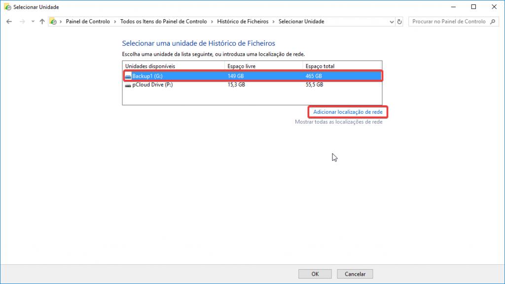 backup windows10 selecionar uma unidade
