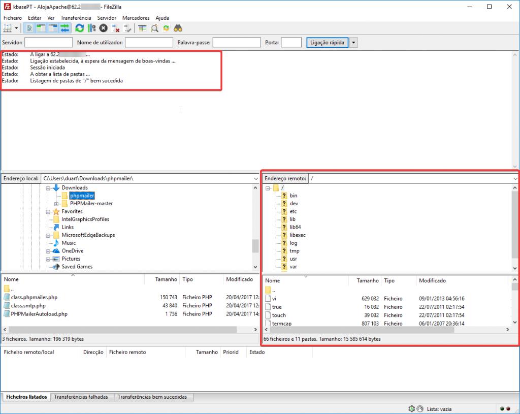 filezilla configurar ligar ao servidor ftp