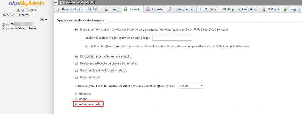 phpMyAdmin exportar estrutura e dados