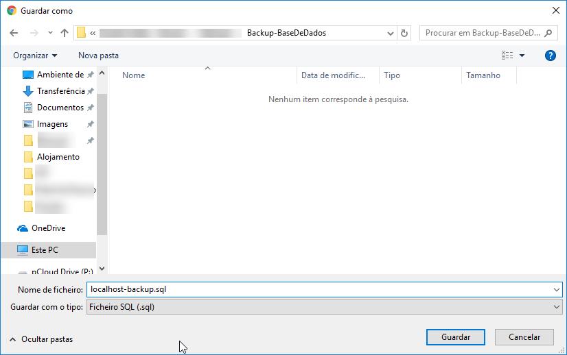 phpMyAdmin exportar guardar ficheiro sql