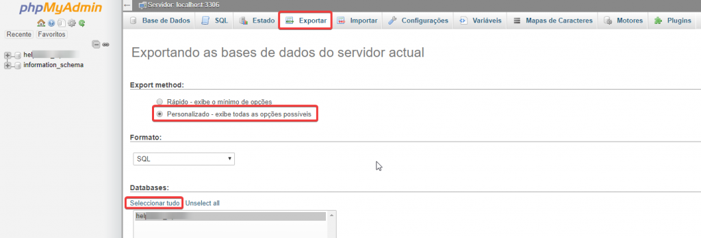 phpMyAdmin exportar