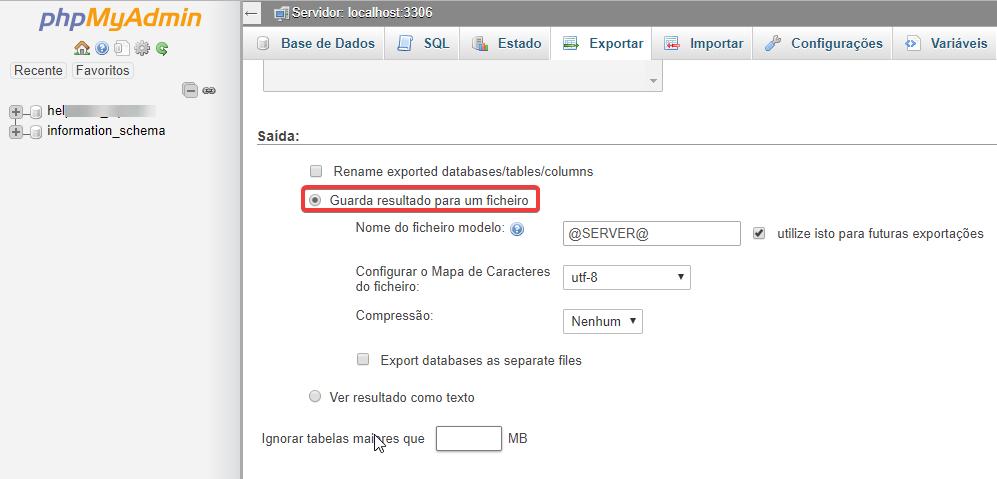 phpMyAdmin exportar ficheiro