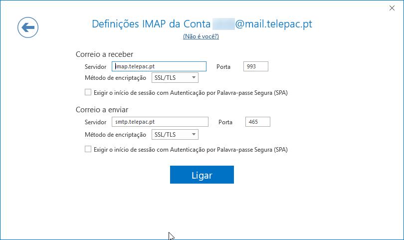 Email telepac definições imap