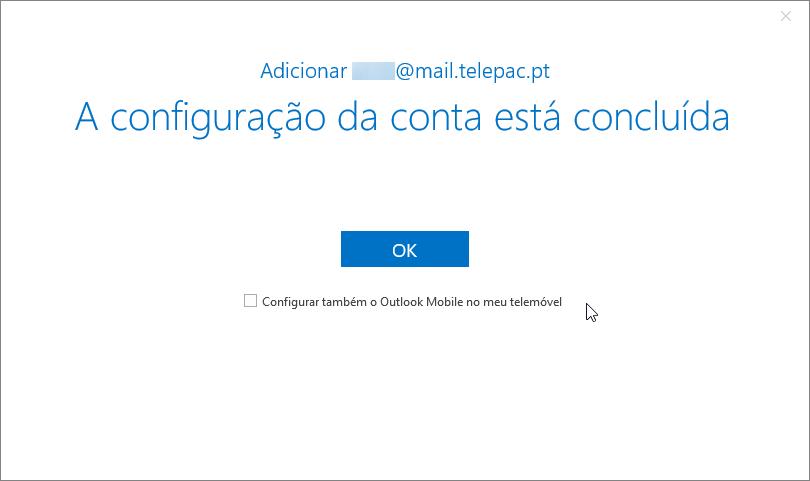 Email telepac imap configuração concluida