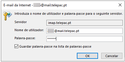 Email imap telepac utilizador password